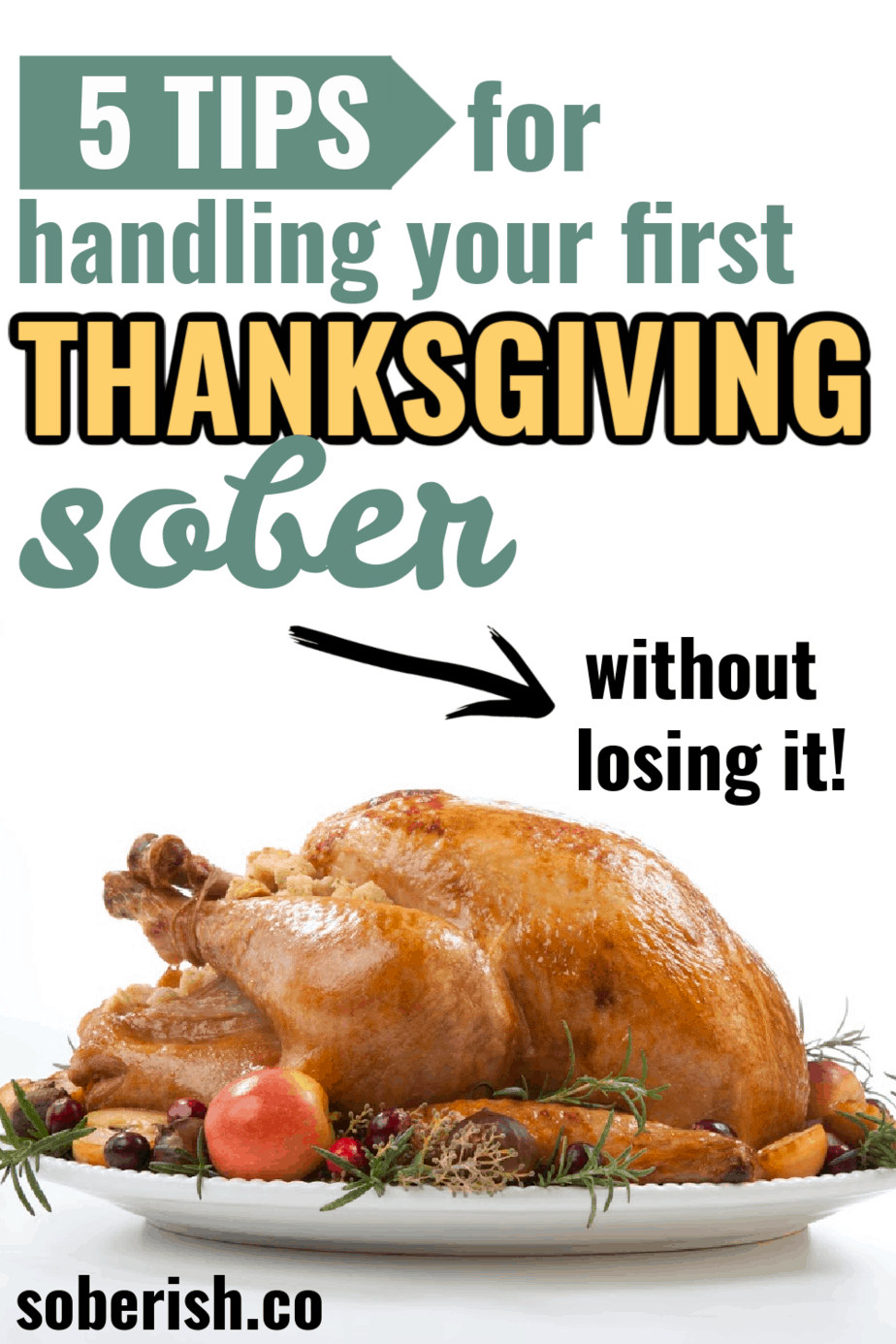 Turkey with the title how to handle your first thanksgiving sober