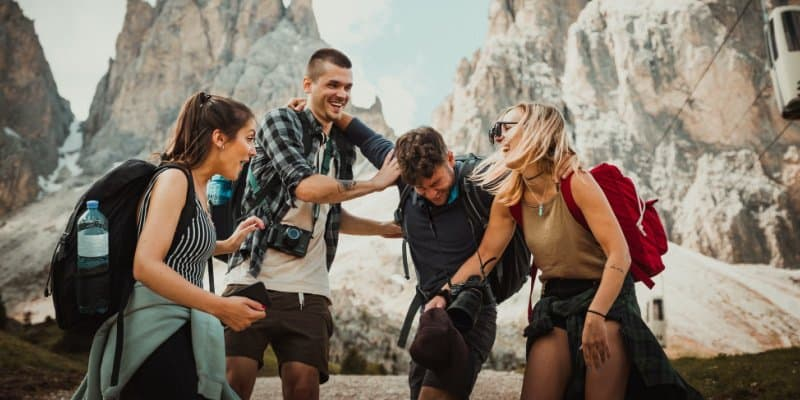 new group of friends hiking who support each other's healthy habits