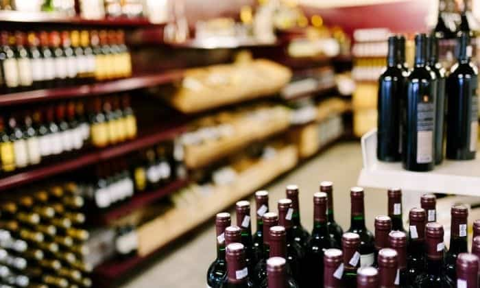 shopping aisle with alcohol