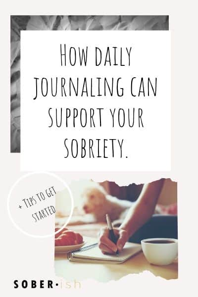 woman journaling in her sobriety journal