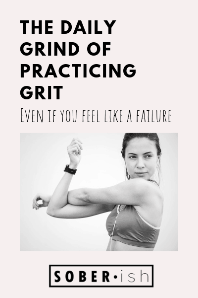 woman stretches behind title the daily grind of practicing grit