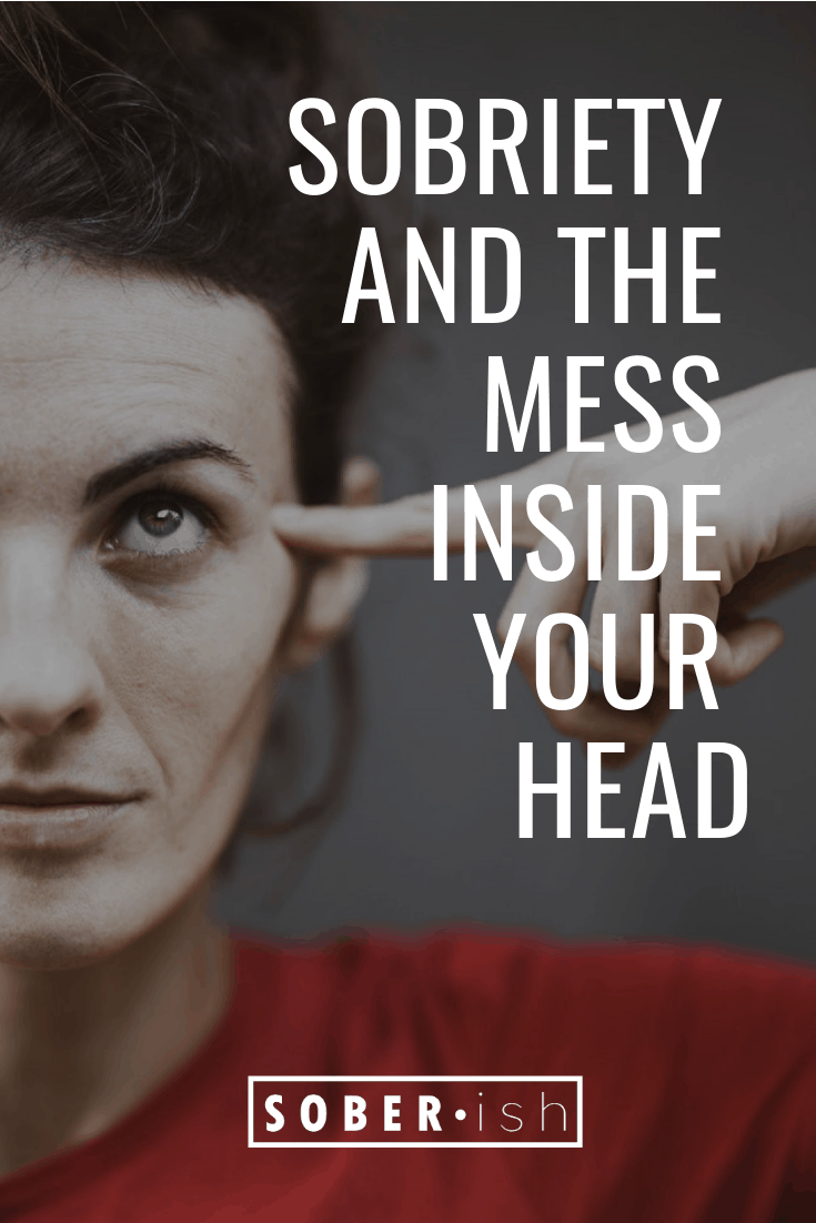 woman pointing to head behind title sobriety and mess inside your head