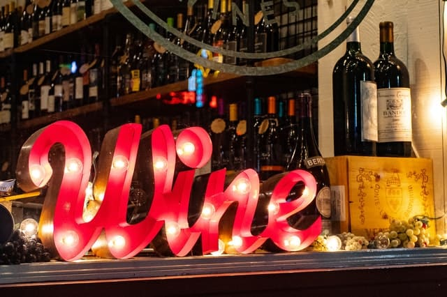 wine sign trouble with sobriety
