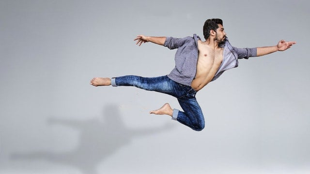 man leaping for joy