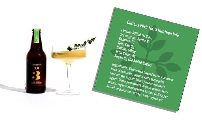 Ingredients for alcohol alternative Curious Elixirs No. 3