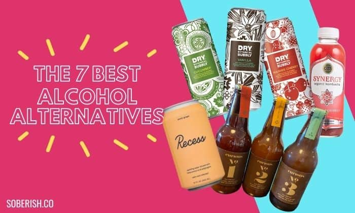 best alcohol alternatives beside pictures of bottles and cans